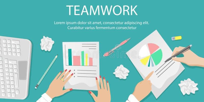 Bureau de travail avec le travail d'équipe sur des écritures Piles des papiers, documents Concept de bureau illustration de vecteur