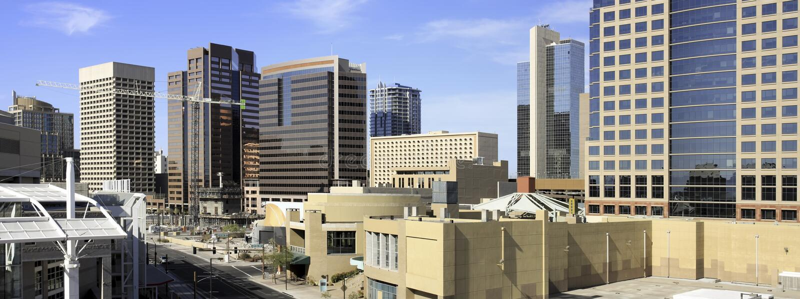 bureau du centre Phoenix de constructions de l'Arizona images libres de droits