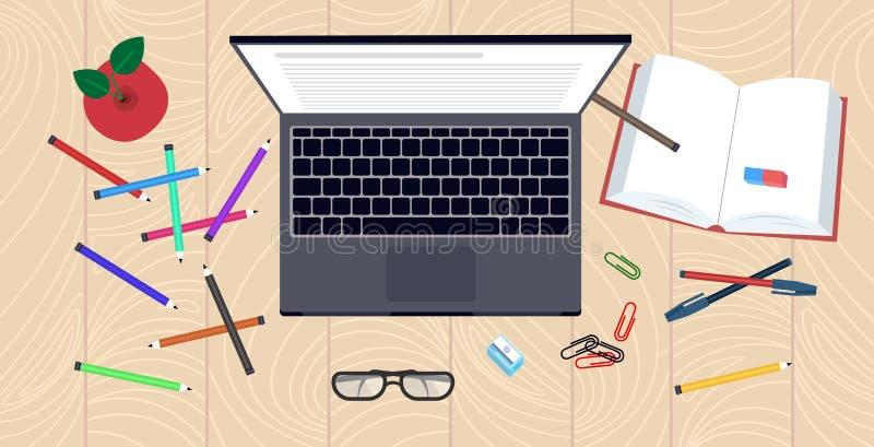 Bureau du poste de travail vue d'en haut de l'angle livre d'ordinateur portable fournitures de bureau concept d'apprentissage de  illustration de vecteur