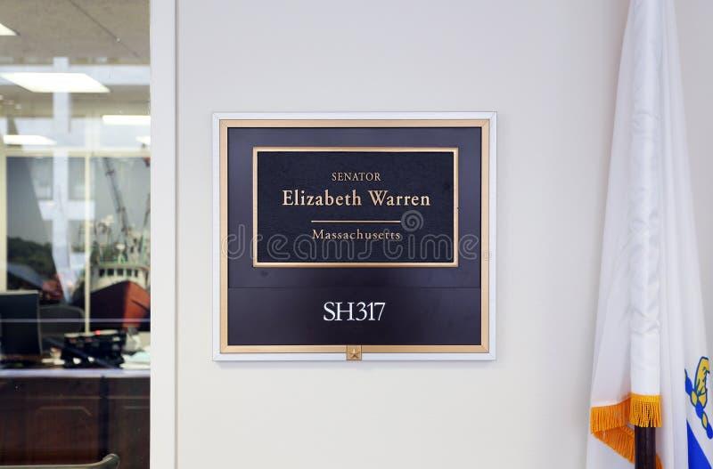 Bureau du sénateur Elizabeth Warren des Etats-Unis photographie stock