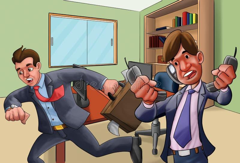 Bureau in een haast royalty-vrije illustratie