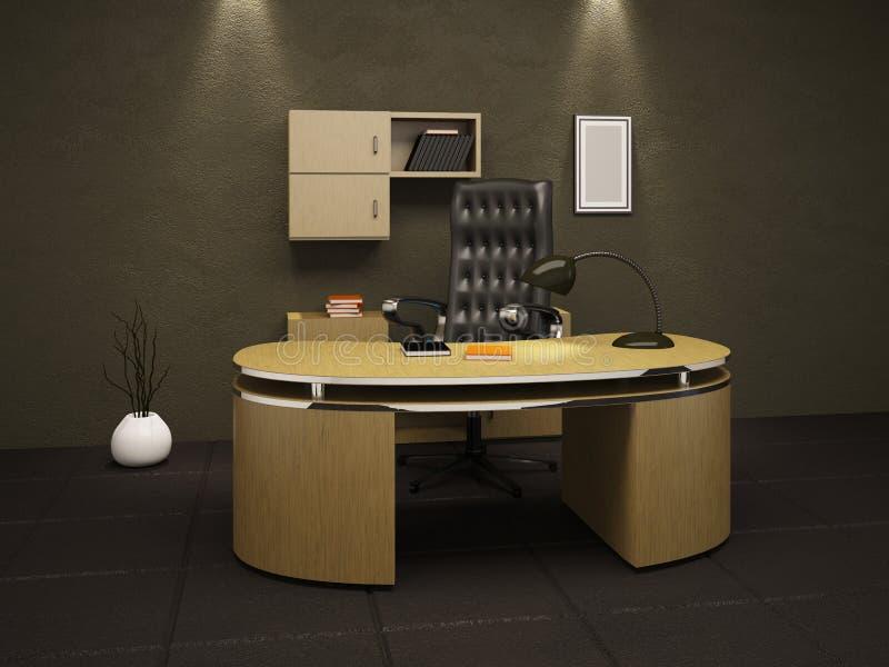 Bureau in een kelder royalty-vrije illustratie