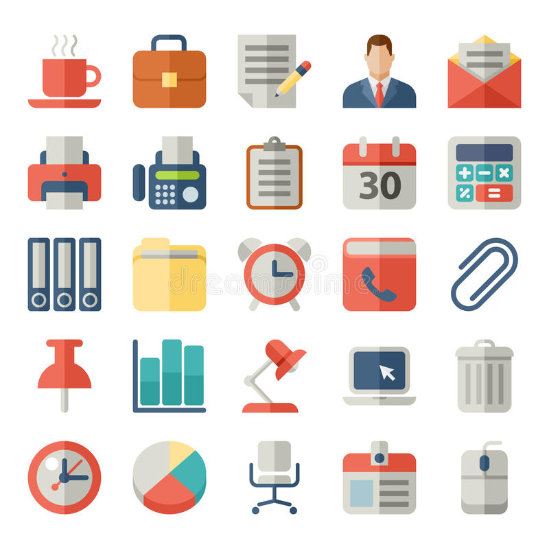 Bureau en bedrijfs Vlakke pictogrammen voor Mobiel Web, royalty-vrije illustratie