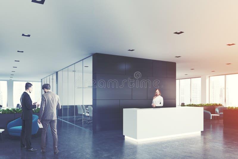 Bureau en bois noir réception blanche côté hommes illustration