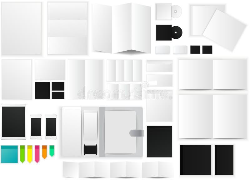 Bureau en werkend ruimtedocument modelpictogram met vele voorwerpen stock illustratie
