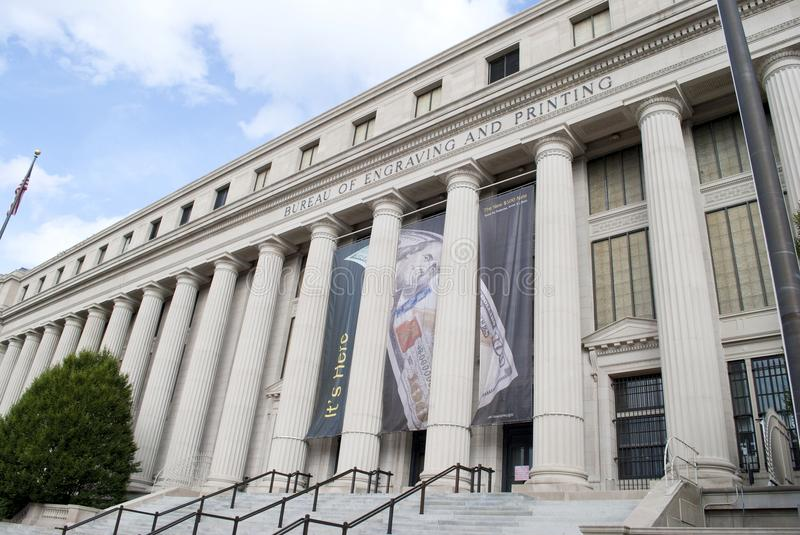 Bureau of Engraving and Printing. The Bureau of Engraving and Printing in Washington DC where visitors can watch dollars being printed stock images