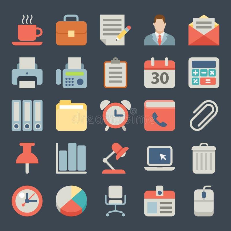 Bureau et icônes plates d'affaires pour le Web, mobiles illustration libre de droits