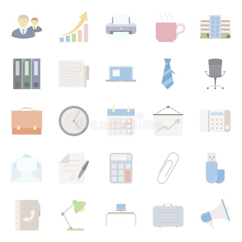 Bureau et icônes plates de commercialisation réglés illustration de vecteur