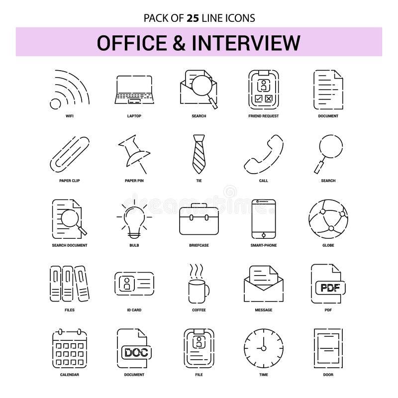 Bureau et ligne ensemble d'icône - style à tiret d'entrevue d'ensemble 25 illustration de vecteur