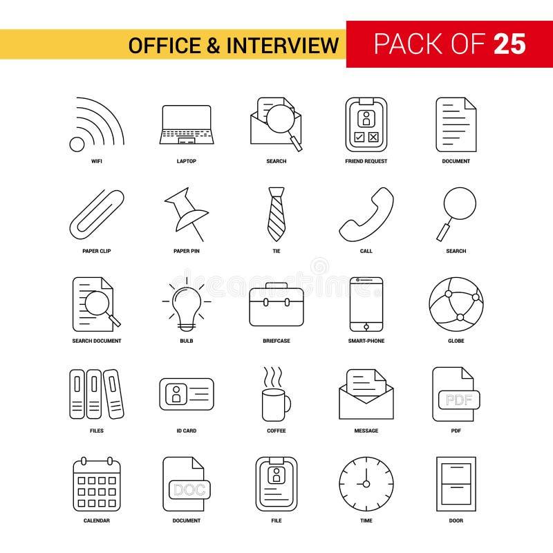 Bureau et ligne icône - icône de noir d'entrevue d'ensemble de 25 affaires illustration de vecteur