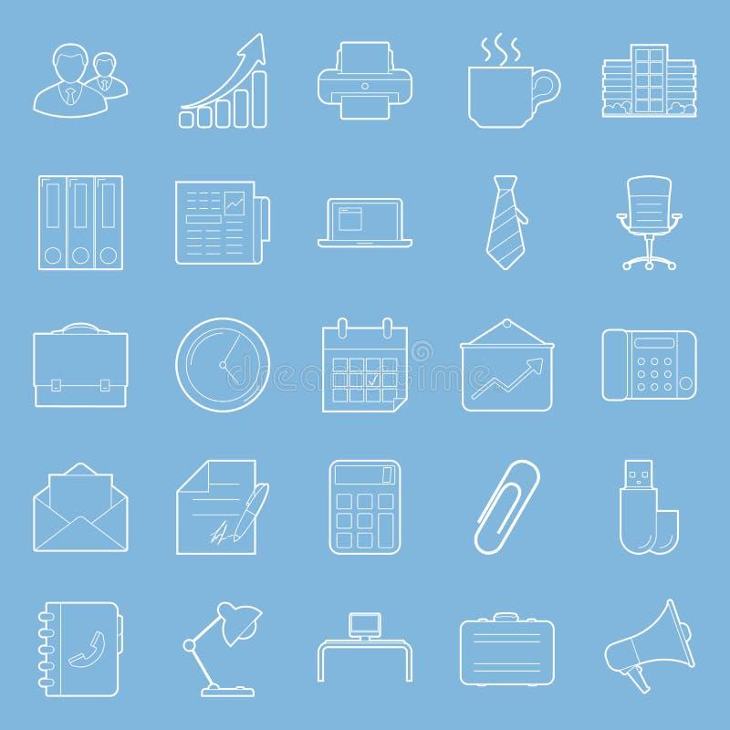 Bureau et lignes minces de commercialisation icônes réglées illustration de vecteur