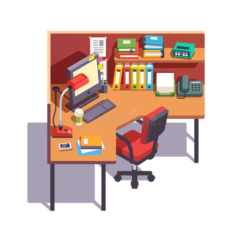 Bureau fonctionnant de compartiment de bureau avec l'ordinateur de bureau illustration libre de droits