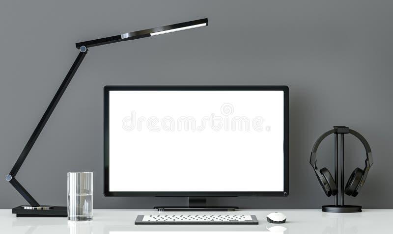 Bureau fonctionnant noir et blanc de style minimal avec l'image grise de rendu du mur 3d illustration libre de droits