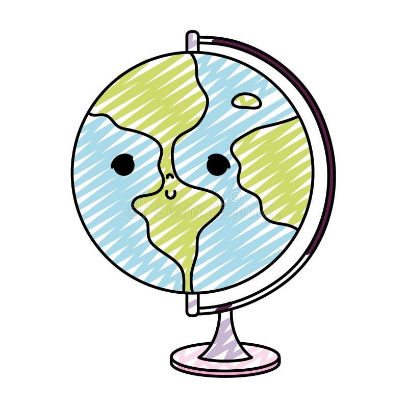 Bureau global intéressant de planète de kawaii de griffonnage illustration libre de droits