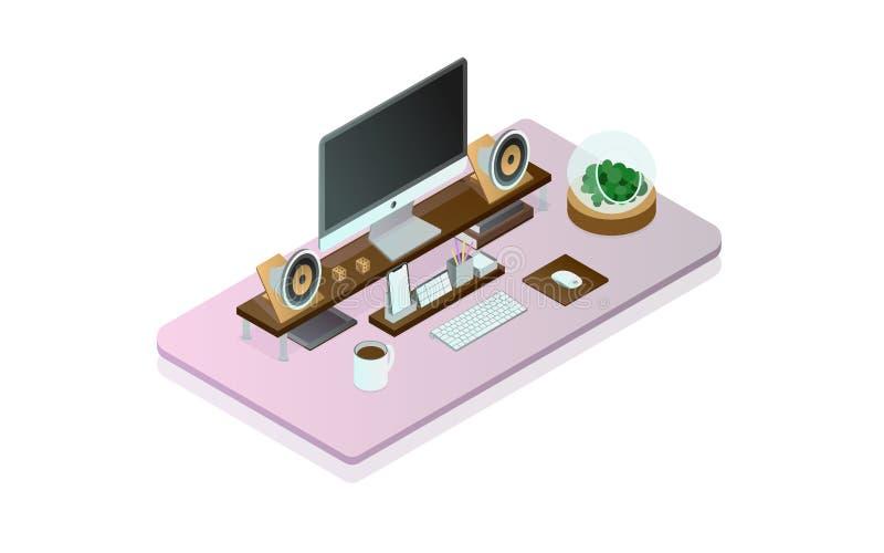 Bureau idéal d'ordinateur isometry illustration de vecteur