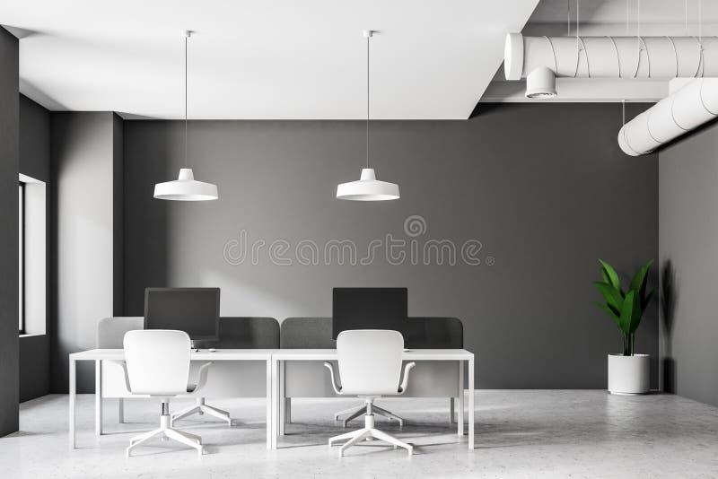 Bureau industriel gris de style intérieur, vue de face illustration stock