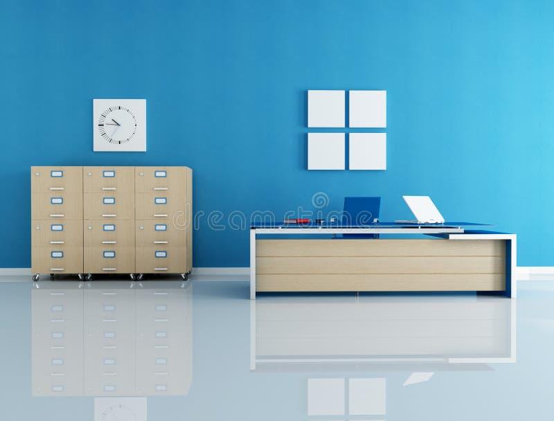 bureau intérieur bleu illustration de vecteur