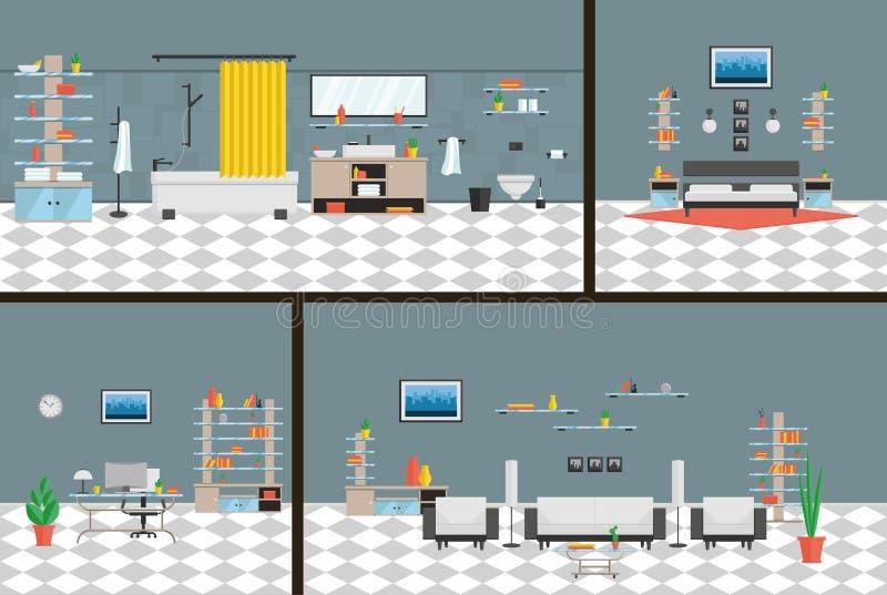 Bureau intérieur, chambre à coucher, salle de bains, style de pointe de roomin vivant un ensemble complet de meubles et décoratio illustration stock