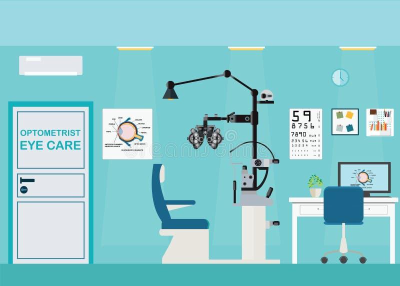 Bureau intérieur d'ophtalmologue avec Phoropter illustration stock
