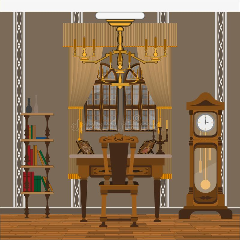 Bureau intérieur vieux illustration de vecteur