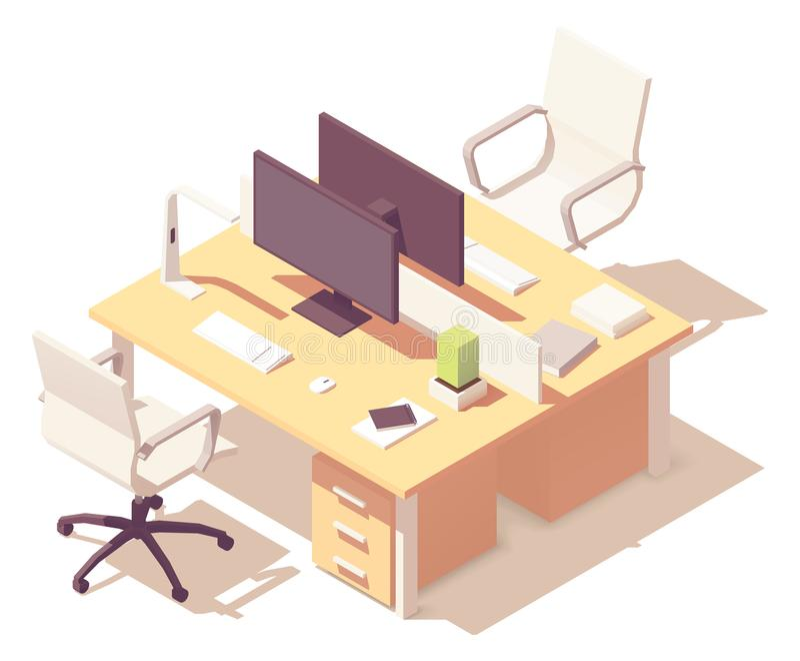 Bureau isométrique de vecteur illustration stock