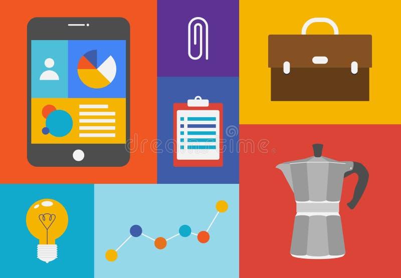 Bureau Kleurrijke Voorwerpen Stock Foto