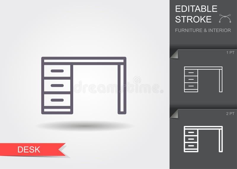 bureau Lijnpictogram met editable slag met schaduw royalty-vrije illustratie