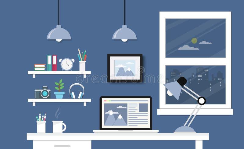 Bureau met computerreeks royalty-vrije illustratie