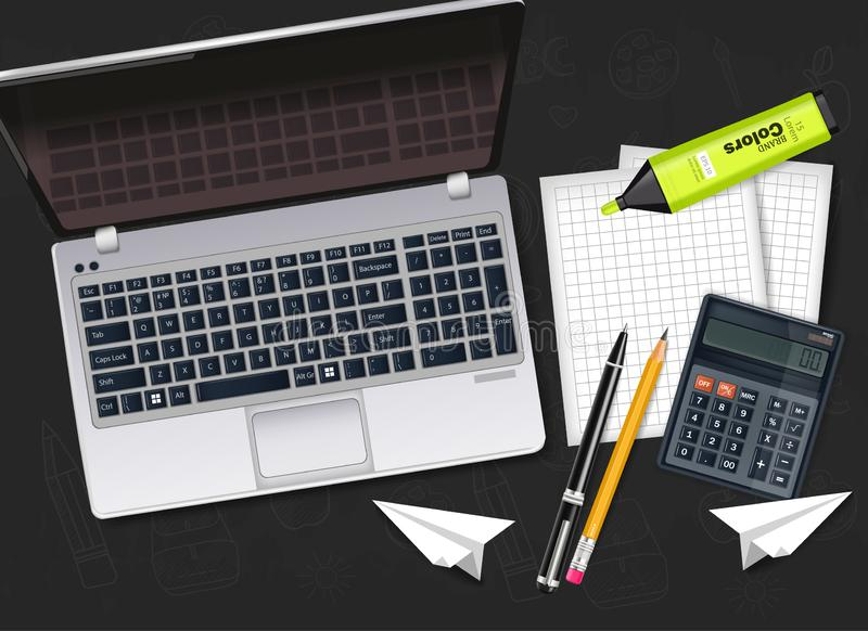 Bureau met laptop, calculator, pen en tellers realistische Vector vector illustratie