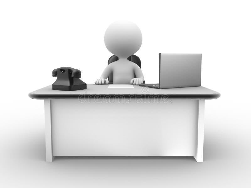 Bureau met laptop en een telefoon vector illustratie
