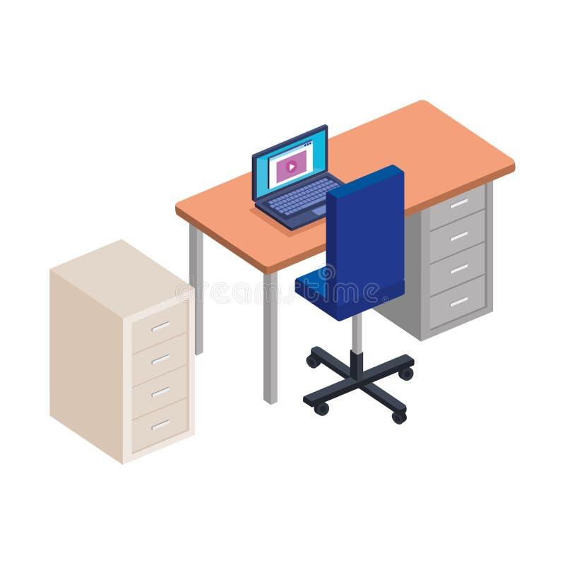 Bureau met laptop en lade stock illustratie