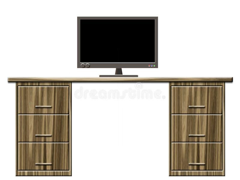 Bureau met monitor vector illustratie