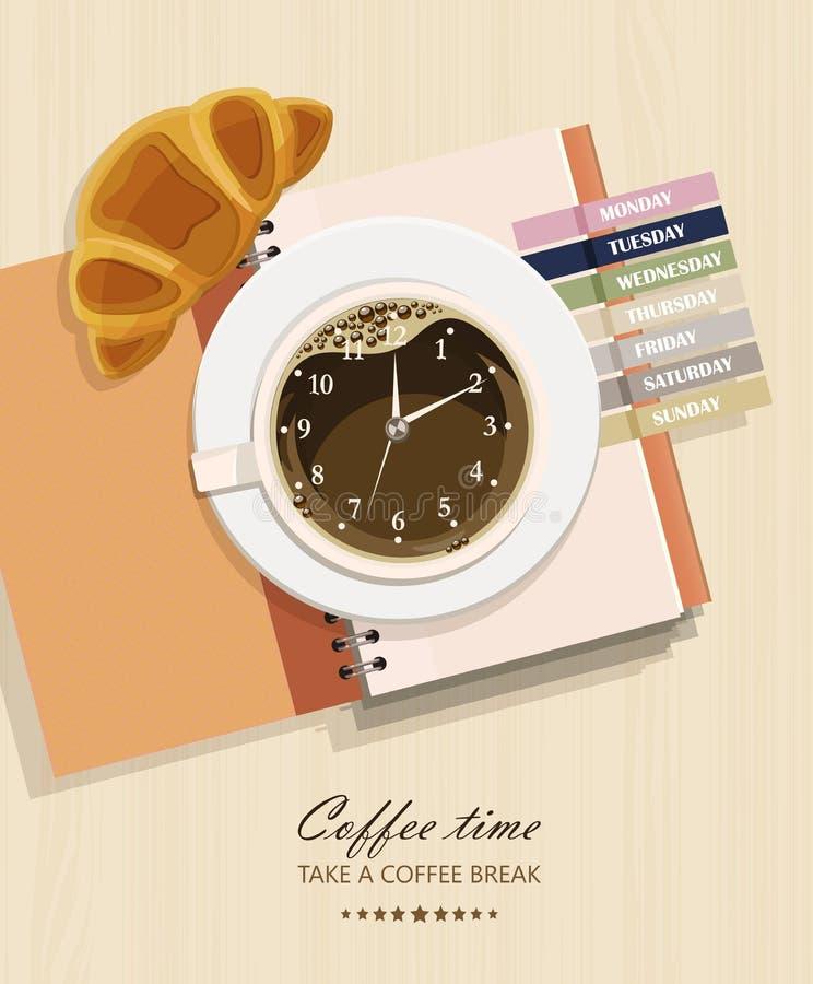 Bureau met notitieboekje, croissant, koffie en klok vector illustratie