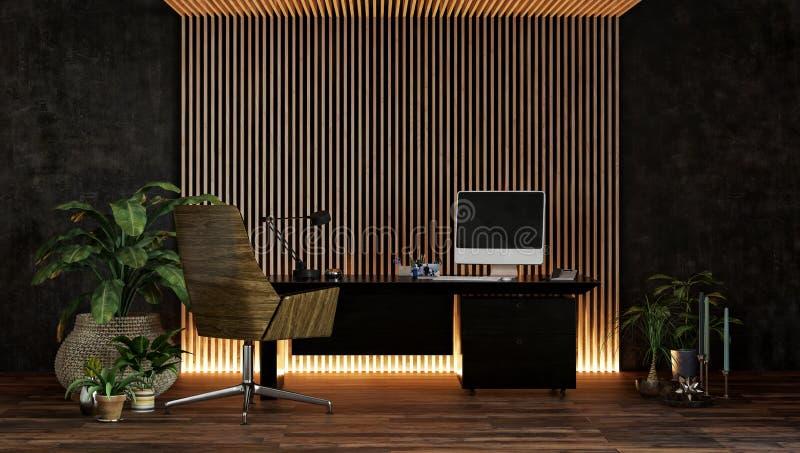 Bureau moderne élégant ou étude avec les allumeurs hauts illustration de vecteur