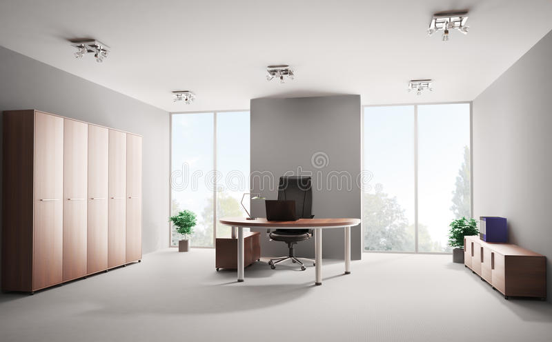 Bureau moderne 3d intérieur illustration stock