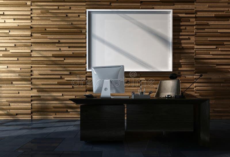 Bureau moderne avec le cadre de tableau vide illustration stock