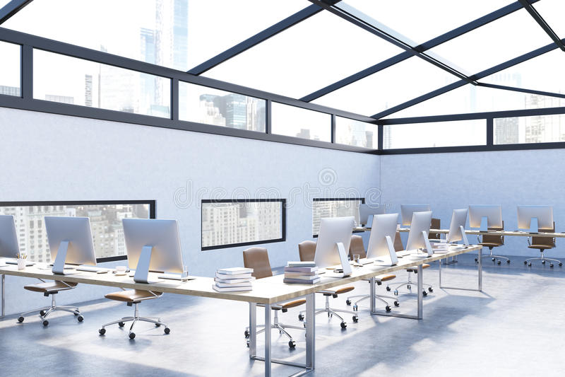 Download Bureau Moderne Avec Les Murs Bleu-clair Illustration Stock - Illustration du finances, confortable: 76077893