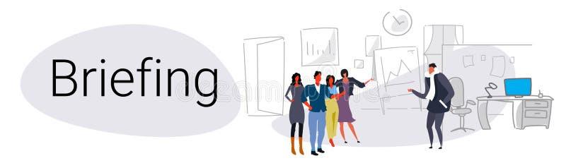 Bureau moderne de concept de briefing de présentation de tableau de conférence de réunion de conférence de formation de travail d illustration libre de droits