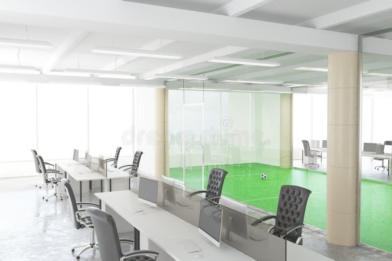 Bureau moderne de l'espace ouvert avec le terrain de football derrière le transpar illustration stock