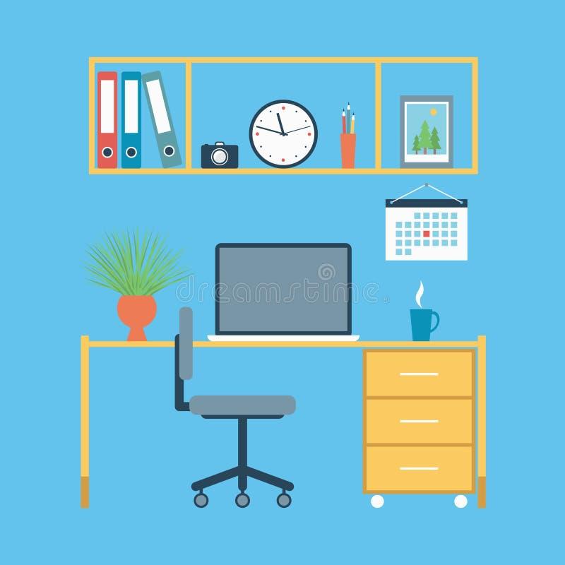Bureau moderne dessiné dans la conception plate illustration libre de droits