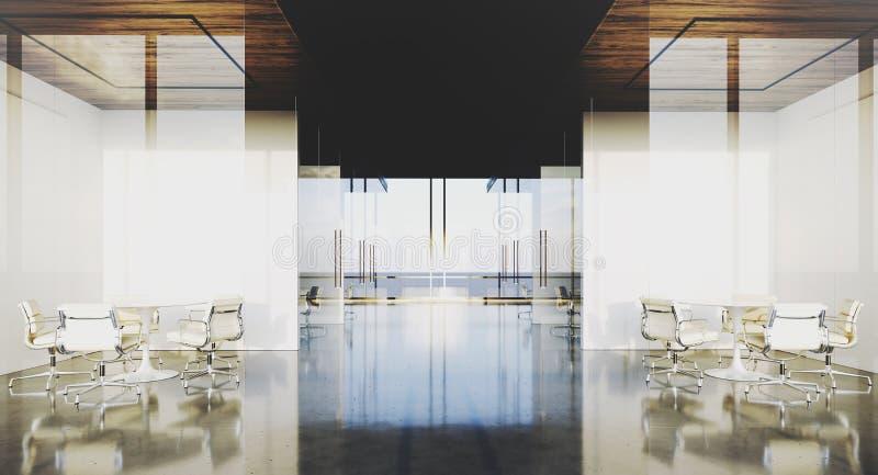 Bureau moderne intérieur avec les fenêtres et les lieux de réunion panoramiques rendu 3d illustration stock