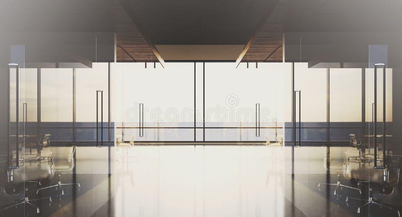 Bureau moderne intérieur avec les fenêtres et les lieux de réunion panoramiques rendu 3d illustration de vecteur