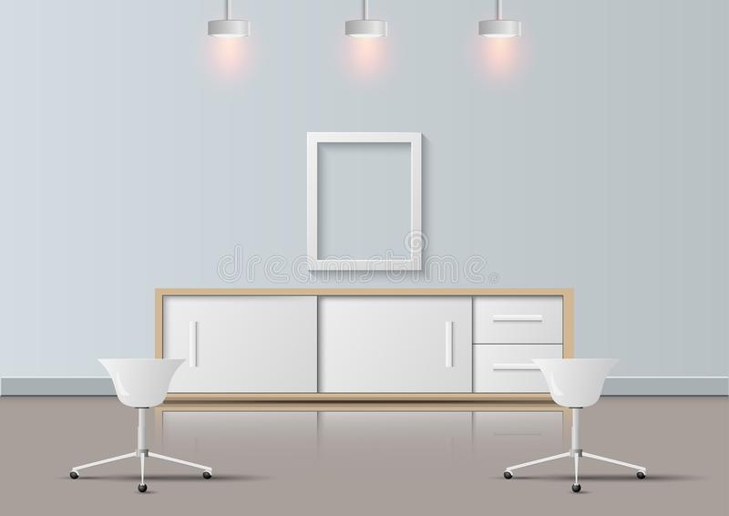 Bureau moderne réaliste et conception de pièce de relaxation, illustration de vecteur illustration stock