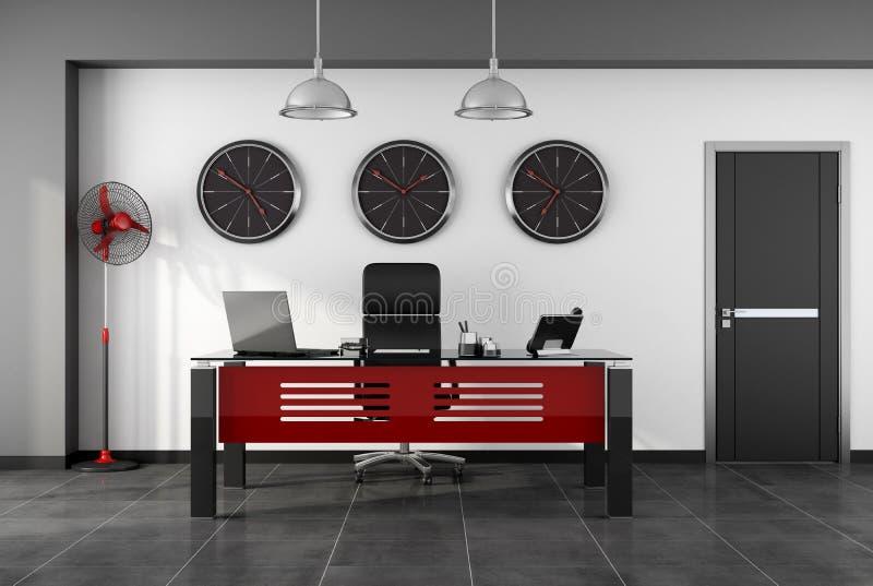 Bureau moderne rouge et noir illustration stock illustration du