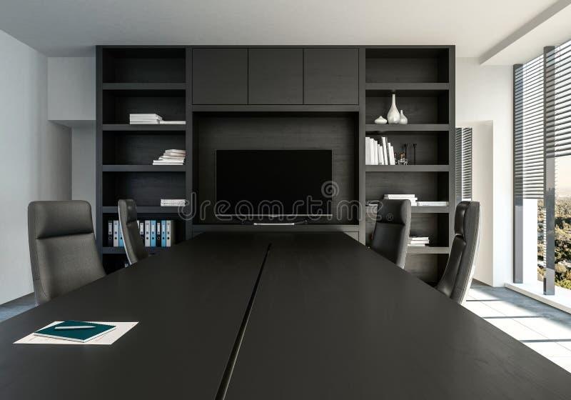 Bureau monochrome élégant avec le décor noir illustration de vecteur