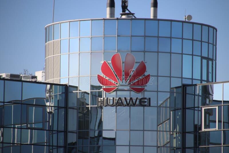 Bureau néerlandais de fabriquant d'équipement chinois Huawei de télécom sur Voorburg les Pays-Bas photo libre de droits