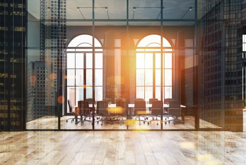 Bureau noir de brique et en verre, lieu de réunion modifié la tonalité illustration stock