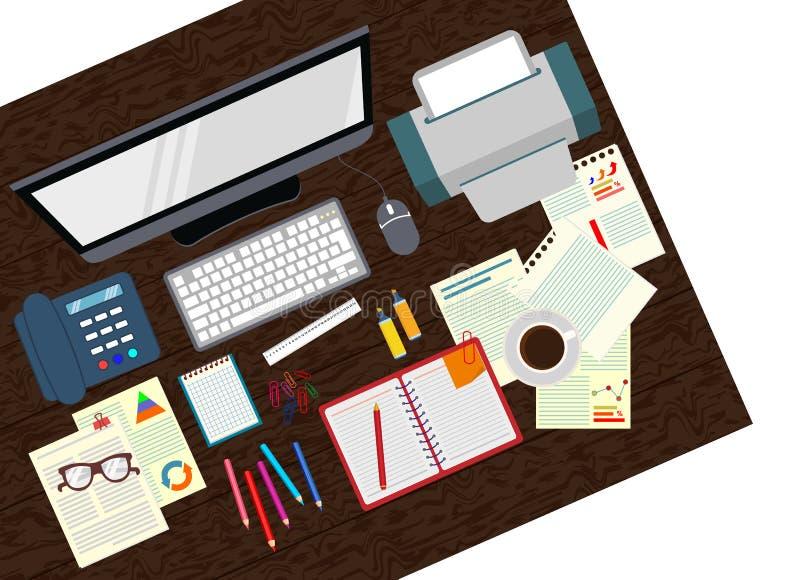 bureau Organisation réaliste de lieu de travail La vue à partir du dessus illustration libre de droits