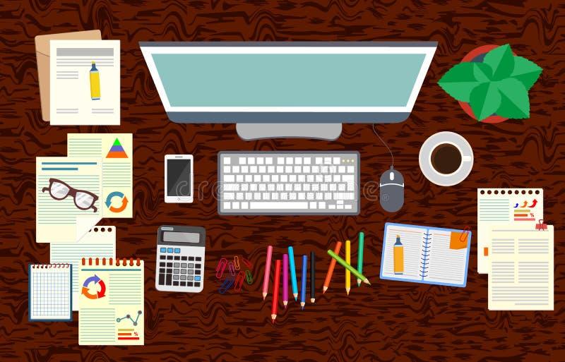 bureau bureau Organisation réaliste de lieu de travail La vue à partir du dessus Illustration de vecteur illustration de vecteur