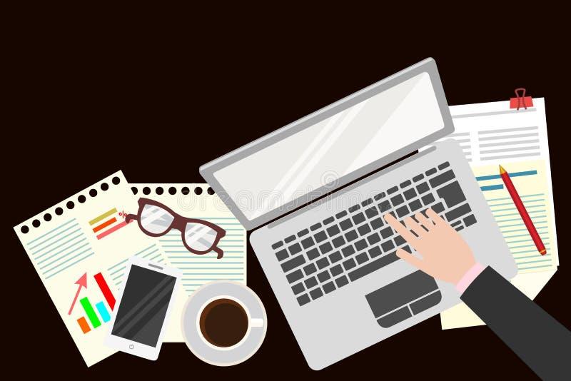 bureau Organisation réaliste de lieu de travail La vue à partir du dessus Illustration de vecteur illustration stock